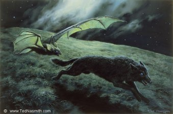 Luthien Transformed as Thuringwethil by Ted Nasmith